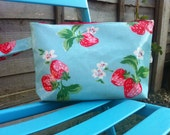 Nappy & wipes pouch/wet bag made in Cath Kidston Strawberry Oilcloth