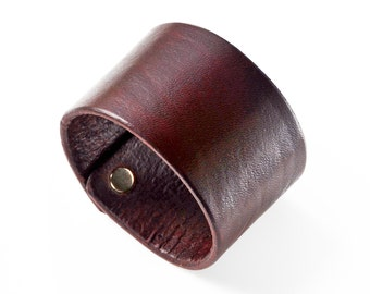 Customizable Leather Cuff 1.75 Inches Wide - Third Anniversary Gift - Gifts For Men - Leatherwork - Gift Box Included