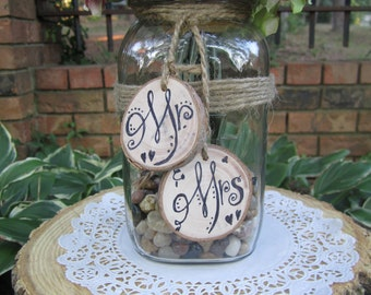 Mr and Mrs Bridal Wedding reclaimed tree Rustic Name Tags double sided CUSTOMIZABLE