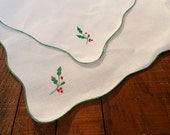 Vintage White Linen Doilies, Set of 2, Holiday, Christmas, Holly Berry, Home