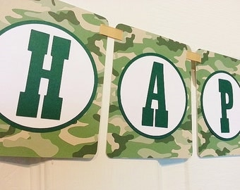 Hunting Season Camo Party Banner -  Happy Birthday - Welcome Home Banner - Bridal Shower Baby Shower - Hunting Banner - Bachelor Party