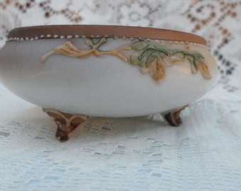 Footed Dish Nippon Hand Painted Fancy With Acorn and Branch depiction Beaded Edges