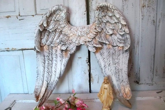 Large white angel wings wall sculpture shabby chic ornate for Angel wings wall decoration uk