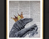 "Lizard King ""Golden Sun ""Lizard with Crown, Lizard King Art Prints,Vintage Dictionary page, Dictionary art, Dictionary print, Size 8x10"