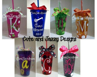 Personalized 16 oz, Colored Acrylic, Reusable, BPA Free Cup with Straw