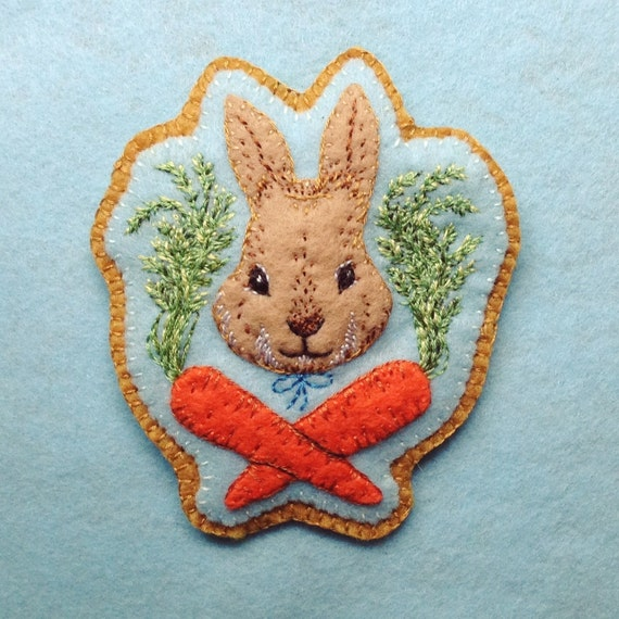Hand Embroidered Bunny Brooch