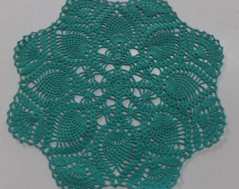 "14"" Flower Doily / Crochet doily   / Green / READY TO SHIP"