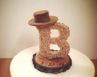 Rustic wedding cake topper wooden letter country cowboy hat weddings