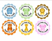 Favor Tags - Personalized Baby Animals-  Baby Shower favor tags, Jungle theme tags, animal tags - set of 12