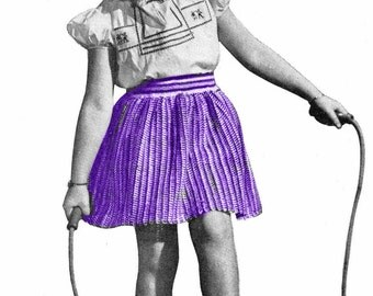 Girl's Striped Drindle Skirt Crochet Pattern Sz 6-8-10 || Vintage 1940's || Reproduction Printed Pattern 5130-175