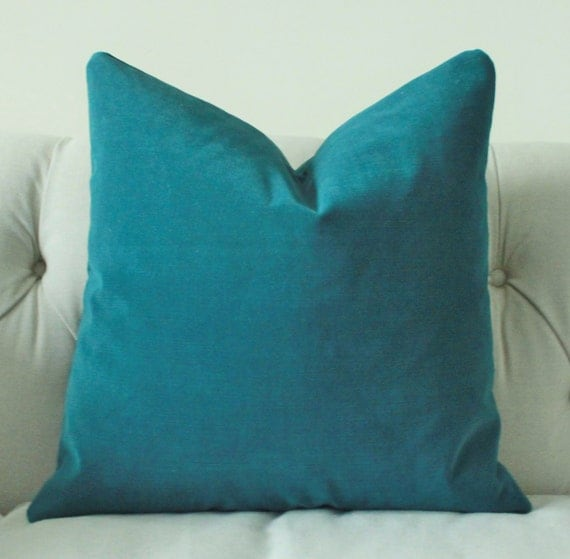 Decorative Pillows For Blue Couch : Decorative Teal Blue Pillow Dark Turquoise Pillow Cover