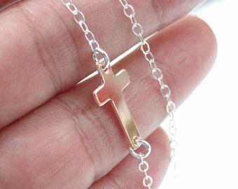 ROSE GOLD Sideways Cross Necklace, Small Cross Necklace, Rose Gold-Sterling Silver Necklace, Rose Gold Cross Jewelry, Two Tone Necklace