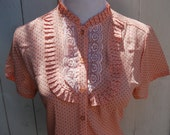 sale RoyalTea Peach Polka Dot Floral Lace Button Up Womens Vintage 1990s Short Sleeve Blouse Shirt Top Peach Pink Polka Dot Cute Lolita