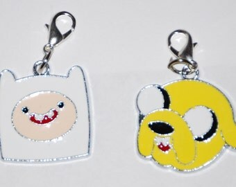 Adventure Time Finn & Jake Enamel Clip Charm, zipper pull, backpack, cell phone, purse clip, bracelet, necklace or scrapbooking.