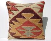"""MODERN Bohemian Home Decor, Turkish Kelim Pillow Cover  16"""" X 16"""",Tribal Pillow,Vintage Kilim Pillow, Kilim Ebroidery Pillow,Throw Pillow"""