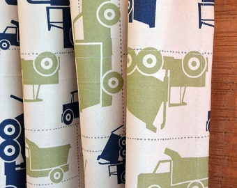 Designer Curtain Panels 24W or 50W x 63, 84, 90, 96 or 108L Toy Trucks Felix Blue Natural Collection shown