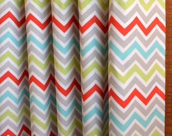 SUMMER SALE! Curtains, Window Treatments, Nursery Baby Room Decor, Curtain Panels,  Zig Zag Chevron Zoom Zoom Harmony Red shown