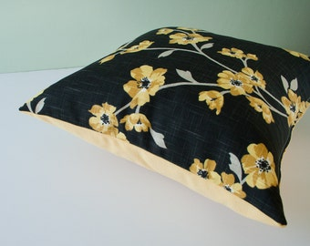Yellow black decorative accent pillow cover / sakura / cushion cover / throw pillow / pillow case / cushion cover - 18 x 18 inches