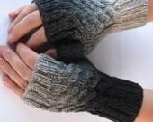 Black - Gray Fingerless Gloves/Mittens with Plaints for practicall Men. - solva