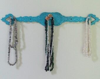 Vintage Metal Aqua Ornate Three Hook Rack