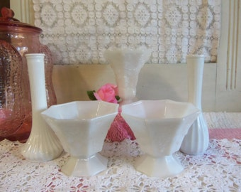 5 Piece Vintage White or Milk Glass Footed Candy Dish and Vase Set  B304