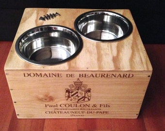 Sale! - Elevated Wine Crate - Double Feeder with a Chrome Fishbone Finish For A Dog or Cat - UpScaled