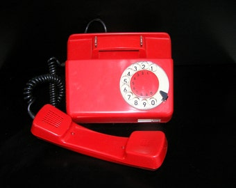 Red telephone rotary phone vintage new old stock bright red 1988 Poland electronics home decor design
