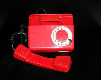 Rotary Telephone Red Retro Phone Vintage Unused Telephone 1988 Poland