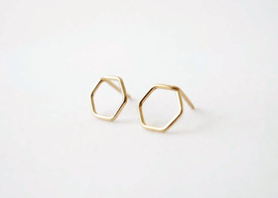 Tiny Hexagon Studs - 14k Gold Filled Earrings