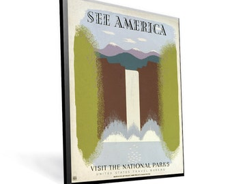 See America Historic Travel WPA Poster on 9x11.5 PopMount Ready to Hang FREE SHIPPING