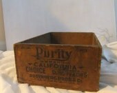 Vintage Wooden Crate - Purity Cling Peaches California