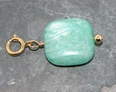 Alice Charm: Smooth, square amazonite bead and small gf bead on 14k gold filled spring ring - Add a Charm