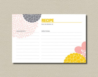 Bridal Shower Recipe Cards - Modern flower design, yellow pink & grey (PP03)