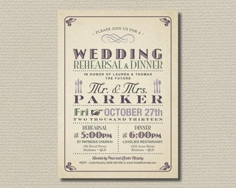 Printable Wedding Rehearsal and Dinner Invitation - Poster Design // Vintage Look  (RD47)