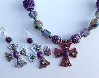 Cowgirl Necklace-Chunky Statement Necklace-Cross Statement Necklace-Purple-One of a Kind-Hand Made-Designs by Stalinda