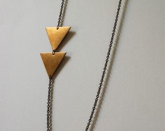 asymmetrical brass triangle necklace