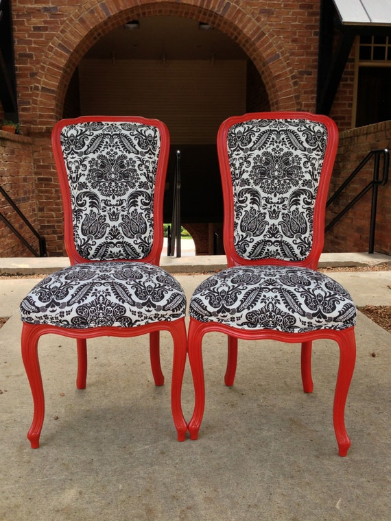 Items similar to pair french accent chairs painted satin for Red and white upholstered chairs