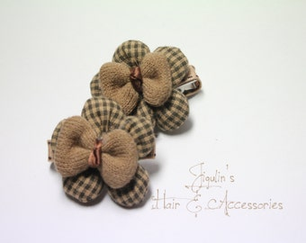Children fabric flower clips - brown gingham padded flowers with bows