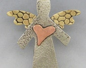 Angel Pin, Small Angel Pin, Mixed Metal Angel Pin  RP0068