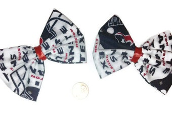 Houston Texans Bow Set, Football bows, Cheer bows, Sports Bows, Womens hairbows, Pigtail Bows, Gift ideas, Red white and blue bows, sports