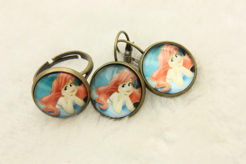 set earrings and ring mermaid ariel by beataren on etsy