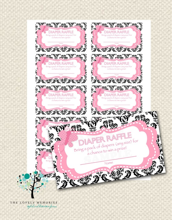 ... Diaper Raffle ticket -Damask Pink Butterfly -(Printable JPG File