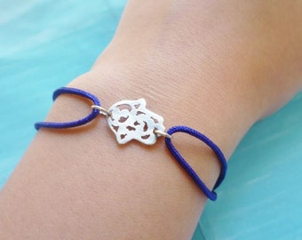 Moroccan silver hamsa cut out electric blue adjustable bracelet