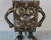 Hand Made SPONGE BOB 5.5 Inches Recycled Scrap Metal