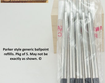 Parker Style Ballpoint Refill Generic Ink Refill, Package of Five.
