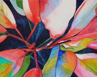 Art Original Watercolor Painting of  Tropical Hawaiian TI LEAVES