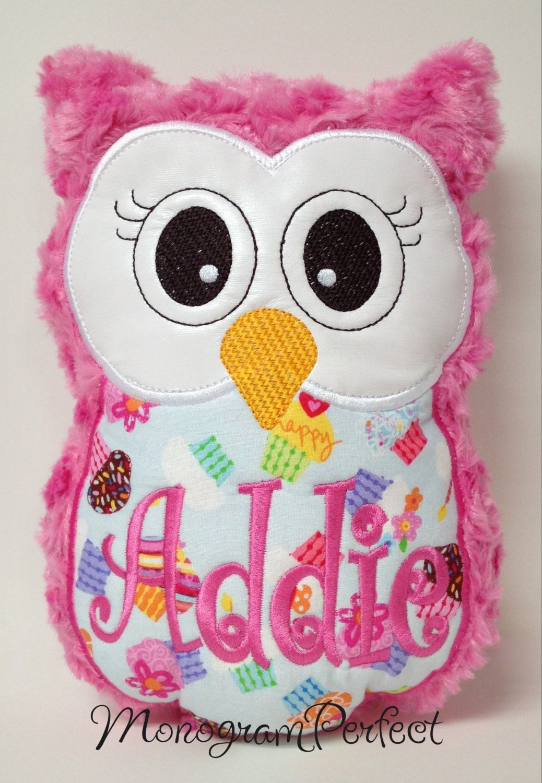 Animal Reading Pillows : Personalized Cupcake Stuffed Owl Reading Buddy Pillow Soft