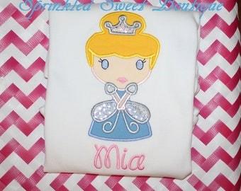 Cinderella Disney Princess Custom Monogram Applique Shirt Perfect for First Disney World Trip Pick Short or Long Sleeve Or Dress