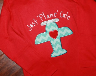 Just Plane Cute Valentines Day Applique Shirt -Short or Long Sleeve