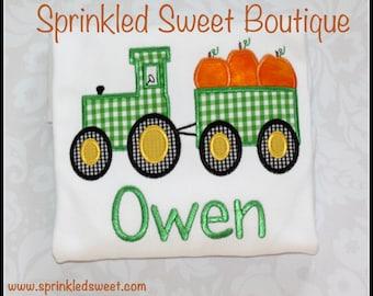 Custom Applique Halloween Thanksgiving Fall Tractor Monogram Shirt -Short or Long Sleeve Boy First Holiday Onsie